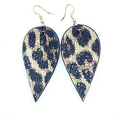 1 par de pendientes de leopardo de cuero estampado Pendientes de gota de hojas de pétalo de lágrima