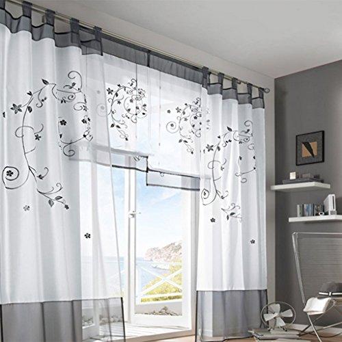 Simpvale 2 pezzi pastorale ricamo finestra tende per soggiorno e camera da letto, grey, 140cm(larghezza)x260cm(lunghezza)