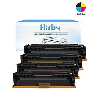 Airby® Kompatibel CF540X CF541X CF542X CF543X HP 203X Toner kartusche für HP LaserJet Pro M254, HP LaserJet Pro M280, HP LaserJet Pro M281 4 Stücke (Schwarz, Cyan, Gelb, Magenta)
