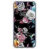 BJJ SHOP Étui Transparent pour [ Elephone S7 ], Coque en Silicone Souple TPU, Design: Fond Noir de Roses colorées