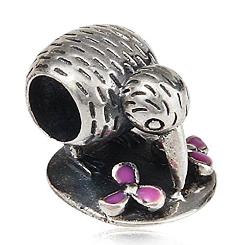 Charmperle, Kiwi-Vogel, mit rosa Emaille-Blume, 925erSterling-Silber, für europäische Charm-Armbänder (Kiwi-vogel-anhänger)
