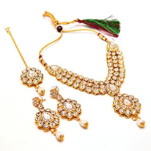 Jewar Mandi Necklace Set Gold Plated Kundan Bridal puwai Handmade Branded New Design Real Look Jewelry with Tika 14477 for Women Girls