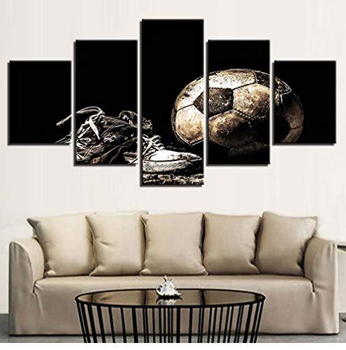 Sport Fußball und Schuhe Leinwand Malerei drucken 5 Stück Moderne Hauptdekoration Wandbild HD modulares Plakat