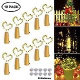 Flaschen Licht Warmweiß, 10 Stück 20 LEDs 2M Led Lichterketten mit Batteries, Led Strip Weinflasche Kupferdraht Cork, Romantische Deko für Party, Bar, DIY, Weihnachten, Hochzeit, Stimmung Lichter