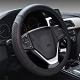 YAYUE Universal Mikrofaser Leder Lenkradbezug Lenkradhülle Leder Lenkradschoner Anti Rutsch Lenkradabdeckung Auto , black