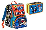 SCHOOL PACK ZAINO SEVEN SJ GANG BOY FACE ESTENSIBILE BLU + ASTUCCIO 3 ZIP