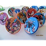 12 Sonic Boom Rings cupcake toppers - birthday party favor -Hedgehog Tails Sega by Unknown by Unknown