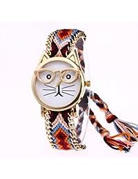 Longra Reloj ♥Lindo Gato de Dibujos Animados Pulsera Reloj de Cuarzo Reloj de Pulsera (