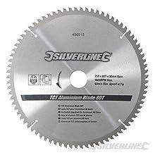 Silverline 456915 TCT Aluminium Blade 80T, 250 x 30 - 25, 20, 16 mm rings