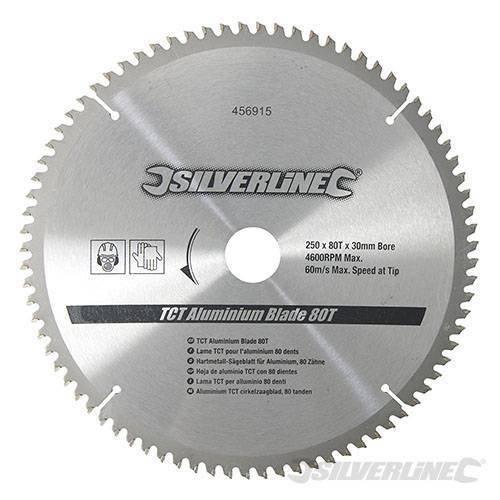 Silverline 456915 Hartmetall-Sägeblatt für Aluminium, 80 Zähne 250 x 30, Reduzierstücke: 25, 20 u. 16 mm