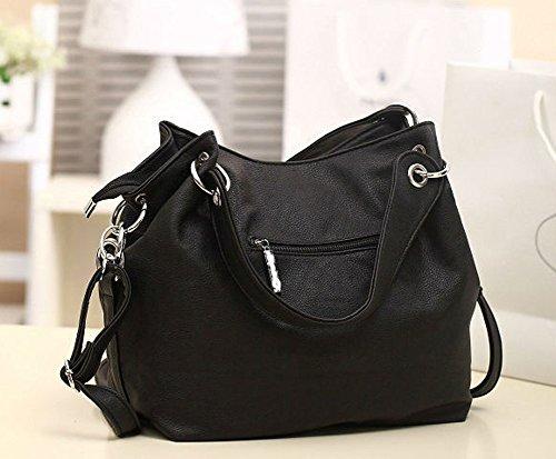 Hrph Luxus Retro Reißverschluss Frauen Handtasche Frauen PU Leder Hobo Schultertasche Casual Messenger Taschen Black