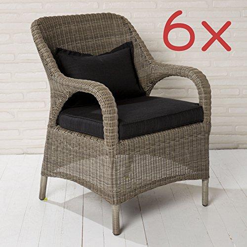 6x Gartenstuhl Gartensessel Poly Rattan braun mit Sitzkissen Gartenmöbel Stuhl