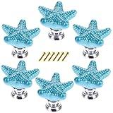 Mobili Pomelli, Lommer 6 pezzi Stella Marina in Ceramica Mobili Manopola Rotonda Fashion Manico in Porcellana Bambini Pomello per cassetto/armadi/armadio, Ceramica, Blue, 3.4*3.4*2.4cm
