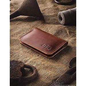 Leder Geldbörse und Kreditkartenfach | Klassisch Braun handgefertigter Vintage-Stil Kartenhalter minimalistisch schlank…