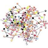 TOOGOO(R)100 Stueck Kugel Zunge Ring Zungenpiercing Koerper Piercing - Multifarben