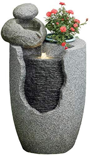 ACTIVA Gartenbrunnen Garten Brunnen Garten Deko mit LED Beleuchtung Steinoptik Zierbrunnen Indoor Outdoor