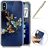 Herbests Handy Tasche für iPhone XS Silikon Hülle Durchsichtige Schutzhülle Crystal Clear Transparent Ultra Dünn Handyhülle Silikonhülle Kristall Klar TPU Bumper,Gold Schmetterling