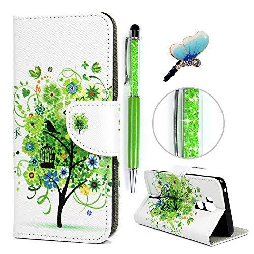 iAdvantec LG G7 ThinQ Hülle Case, Filp PU Leder Wallet Handyhülle Flipcase : Bookstyle Gemalt Tasche Brieftasche Schutzhülle in Grüner Blumenbaum + Anti Staub Stöpsel + Stylus