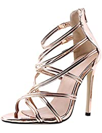 Kootk Sandalias para Mujer Zapatos de Tacón Alto Sandalias de Tiras con Cremallera en el Tobillo con Cremallera...