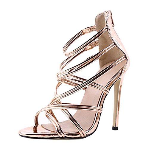 Juleya Frauen Sommer Sandalen Damen Kätzchen High Heel Sandaletten Strappy Bridal Zip Ankle High Heels Offene Zehe Schuhe Die Manuelle Ebene