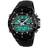 Weise 50m Wasserdicht Analog Digital LCD Multifunktional Herren Sport Armbanduhr Schwarz