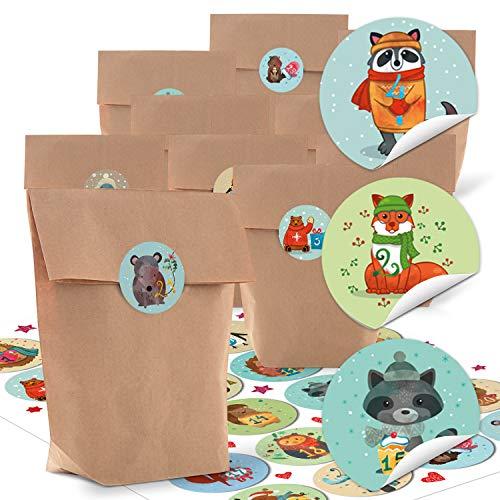 24pequeñas bolsas de papel natural marrón papel kraft 14x 22x 5,6cm + 1hasta 24Números Pegatinas Advent Invierno de animales multicolor Manualidades rellenar Calendario Navidad bio