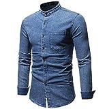 Pottoa Herren Herbst Winter Shirt,Vintage Distressed Solid Denim Langarm T-Shirt Denim Hemden Freizeit Shirts Regular Fit Hemden Jeanshemden