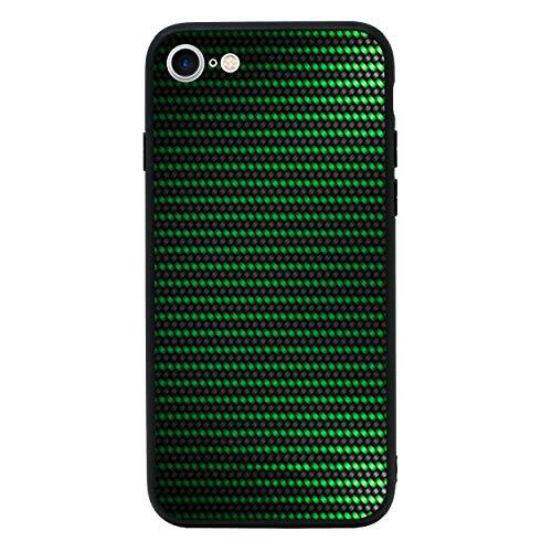 I-CHOOSE LIMITED Kohlenstoff-Faser Gehärtetes Glas Zurück Hülle Kompatibel mit iPhone 7 Plus -Telefon Schützende Stoßstangen Hülle für 5,5 Zoll Bildschirm