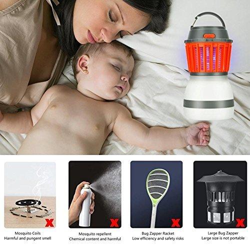 Lampe Anti Moustique, Lampe de Tueur de Moustique USB Rechargeable, 2 en 1 pour Piège à Moustiques Electronique, 3 Mode d'Eclairage, pour Chambre à Coucher, Hall, Hôtel, Bureau, Camping Extérieur