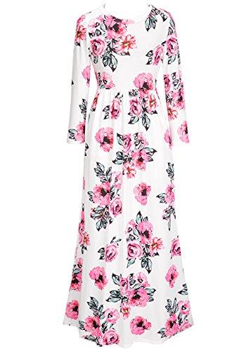 Vestito da spiaggia lungo da partito Maxi da stampa floreale a maniche lunghe in O-Collo 3/4 di seta delle donne Bianco