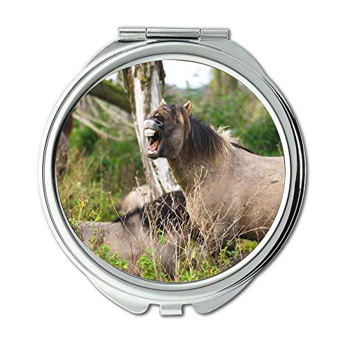 Yanteng Spiegel, Schminkspiegel, Tiere Pferde Natur, Taschenspiegel, tragbarer Spiegel
