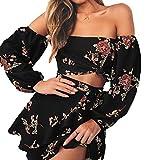 - 51R28vXJ3 L - ALAIX Damen Zweiteiliges Kleid Blusenmuster Schulterfreies Sommerkleid Party Club Outfit Jumpsuit