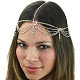 Womens Bohemian Fashion Head Chain Jewelry 4 Draping Chain Strand With Rhinestone Strand, Gold Tone