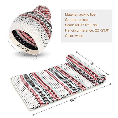 VBIGER Unisexe Bonnet Echarpe en Tricot pour Hiver Blanc