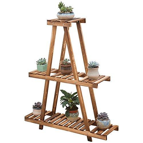 HTZ Jardinière En Bois Marron | Support De Terrasse Idyllique Sur 3 Étages Avec Salon Intérieur Porte-fleurs Pyramide Stand De Fleurs 90x25x108cm ++