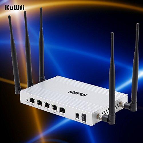 KuWFi 300Mbps High Gain 802.11N Routeur sans fil avec 5 * 5dbi Antenne à longue portée Support Gateway / WIFi répéteur / AP Mode travail Multiple SSID (UK Power Plug)