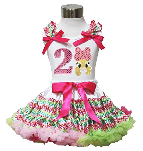 Easter Birthday 2nd Dot Bow Bunny Shirt Rainbow Chevron Girl Pettiskirt Set 1-8y (3-4 ()