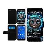 Alice im Wunderland I'm not crazy Cat Cheschire Kunstleder wallet Handy Tasche Schutz Hülle für Sony Xperia Z3 Compact
