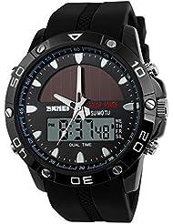 TTLIFE Reloj de pulsera multifuncional de cuarzo al aire libre analógico-digital reloj deportivo Impermeable (negro)
