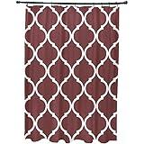 E por diseño French Quarter geométrico impresión cortina de ducha, madera de caoba