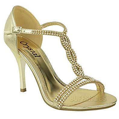 LADIES WOMENS PARTY PROM BRIDAL EVENING FASHION HIGH HEELS SHOES SANDALS SIZE (UK 3 / EU 36 / US 5, Gold)