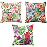 YaYa cafe Cotton Printed Floral Flower Throw Cushions Pillow Covers (Silver, 16x16inch)