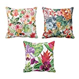 TYYC New Year Gifts for Home Bright Flowers Floral Pattern Printed Cushion Covers Set of 3 - 20x20 inches