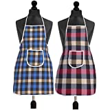Yellow Weaves Check Design Waterproof Cotton Kitchen Aprons - (Pack Of 2)