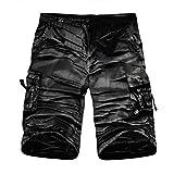 TEBAISE Sommer Cargo Shorts Bermudas Kurze Hose für Herren Männer aus Reine Baumwolle in Camouflage Armee grün Grau Grün Stoffhose aus Stretch-Material(Schwarz,36