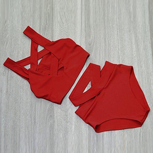 Macxy Sexy Criss Cross Bikini Brasilianische Verband-Badeanzug-Frauen Push up Swimwear Bikini Set Wrap Top Badeanzug Biquini [XXL SW0024] (Miraclesuit Wrap Badeanzug)