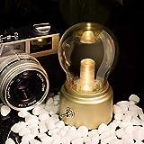 ADFDJGH TischlampeLed-lampe Nachtlicht Usb 5 V Akku Stimmung Leuchte Schreibtisch Tischleuchten Tragbare Nachttischlampe, Gold