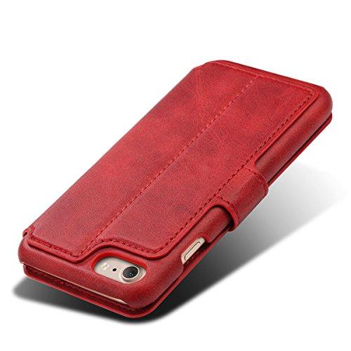 iphone 7 (4,7 Zoll) Hülle Feitenn Ledertasche Buch Stil Hülle Schutzhülle Mit Standfunktion Kartenhalter Magnetverschluss Handyhülle Für iphone 7 (2016) - Braun Rot