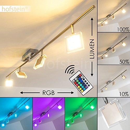 LED Deckenstrahler Parnu 4-flammig – Deckenspot mit Farbwechsler und Fernbedienung - RGB LED Zimmerlampe mit Lichteffekten für Wohnzimmer – 3000 Kelvin – 1200 Lumen – Spots dreh- und schwenkbar
