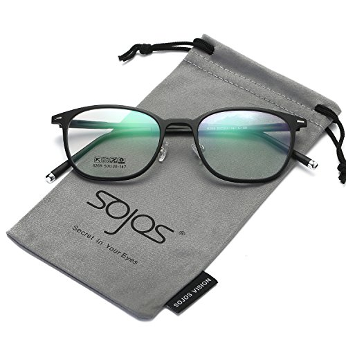 SOJOS Herren Brille Brillenfassungen Wechselgläser Klassisch Leicht Dünn Silikone Nasenpolster SJ6003 mit Matte Schwarz Rahmen